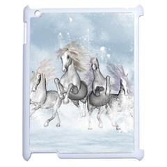 Awesome Running Horses In The Snow Apple Ipad 2 Case (white) by FantasyWorld7
