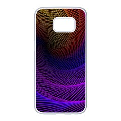 Striped Abstract Wave Background Structural Colorful Texture Line Light Wave Waves Chevron Samsung Galaxy S7 Edge White Seamless Case by Mariart