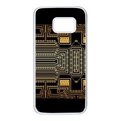 Board Digitization Circuits Samsung Galaxy S7 White Seamless Case