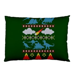 My Grandma Likes Dinosaurs Ugly Holiday Christmas Green Background Pillow Case (two Sides)