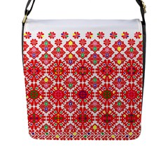 Plaid Red Star Flower Floral Fabric Flap Messenger Bag (l)  by Mariart
