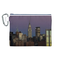 Skyline City Manhattan New York Canvas Cosmetic Bag (l) by BangZart