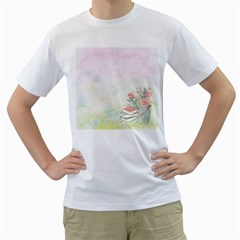 Romantic Watercolor Books And Flowers Men s T Shirt (white)