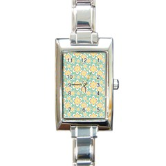 Seamless Pattern Blue Floral Rectangle Italian Charm Watch
