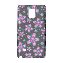 Seamless Pattern Purple Girly Floral Pattern Samsung Galaxy Note 4 Hardshell Case