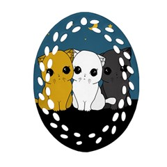 Cute Cats Ornament (oval Filigree) by Valentinaart