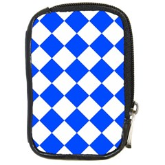 Blue White Diamonds Seamless Compact Camera Cases by Nexatart