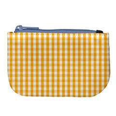 Pale Pumpkin Orange And White Halloween Gingham Check Large Coin Purse by PodArtist