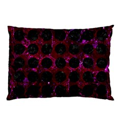 Circles1 Black Marble & Burgundy Marble (r) Pillow Case (two Sides)