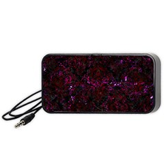 Damask1 Black Marble & Burgundy Marble Portable Speaker (black)