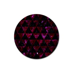 Triangle3 Black Marble & Burgundy Marble Rubber Round Coaster (4 Pack)  by trendistuff