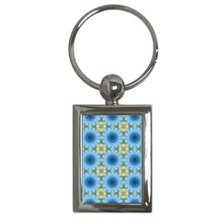 Blue Nice Daisy Flower Ang Yellow Squares Key Chains (rectangle)  by MaryIllustrations