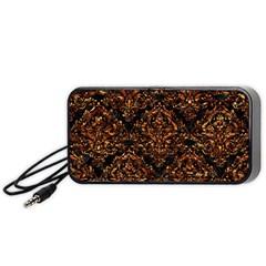 Damask1 Black Marble & Copper Foil Portable Speaker (black)