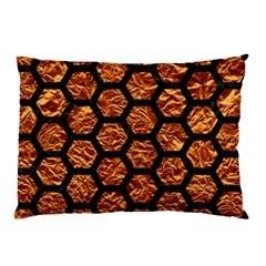 Hexagon2 Black Marble & Copper Foil (r) Pillow Case (two Sides)
