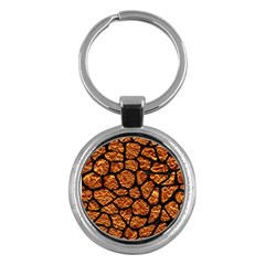 Skin1 Black Marble & Copper Foil Key Chains (round)  by trendistuff
