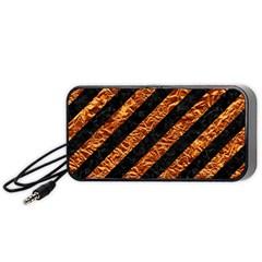 Stripes3 Black Marble & Copper Foil Portable Speaker (black)