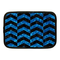 Chevron2 Black Marble & Deep Blue Water Netbook Case (medium)  by trendistuff
