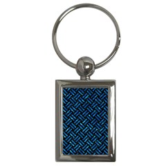 Woven2 Black Marble & Deep Blue Water Key Chains (rectangle)  by trendistuff