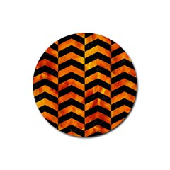 Chevron2 Black Marble & Fire Rubber Round Coaster (4 Pack)  by trendistuff