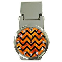 Chevron9 Black Marble & Fire (r) Money Clip Watches