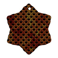 Scales2 Black Marble & Fire Snowflake Ornament (two Sides)