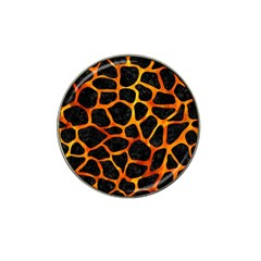 Skin1 Black Marble & Fire (r) Hat Clip Ball Marker (4 Pack) by trendistuff