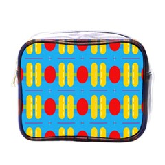Ovals And Stripes Pattern                            Mini Toiletries Bag (one Side)