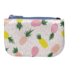 Pineapple Rainbow Fruite Pink Yellow Green Polka Dots Large Coin Purse by Mariart