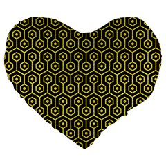 Hexagon1 Black Marble & Gold Glitter Large 19  Premium Flano Heart Shape Cushions by trendistuff