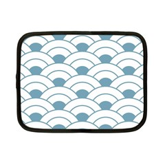 Art Deco,shell Pattern,teal,white Netbook Case (small)  by 8fugoso