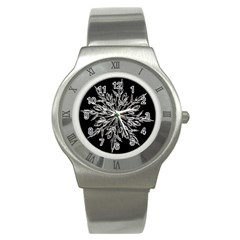 Ice Crystal Ice Form Frost Fabric Stainless Steel Watch by Onesevenart