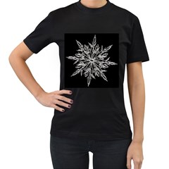 Ice Crystal Ice Form Frost Fabric Women s T Shirt (black) by Onesevenart