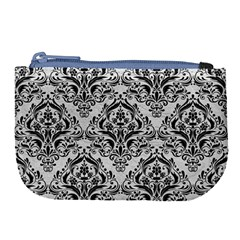 Damask1 Black Marble & White Leather Large Coin Purse by trendistuff
