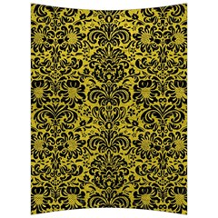 Damask2 Black Marble & Yellow Leather Back Support Cushion by trendistuff
