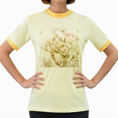 Pastel Roses Antique Vintage Women s Fitted Ringer T Shirts