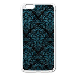 Damask1 Black Marble & Teal Leather (r) Apple Iphone 6 Plus/6s Plus Enamel White Case by trendistuff
