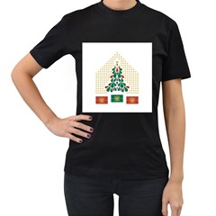 Christmas Tree Present House Star Women s T Shirt (black) (two Sided)