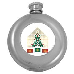 Christmas Tree Present House Star Round Hip Flask (5 Oz) by Celenk