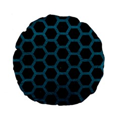 Hexagon2 Black Marble & Teal Leather (r) Standard 15  Premium Flano Round Cushions by trendistuff
