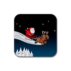Christmas Reindeer Santa Claus Snow Star Blue Sky Rubber Square Coaster (4 Pack)  by Alisyart