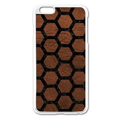 Hexagon2 Black Marble & Dull Brown Leather Apple Iphone 6 Plus/6s Plus Enamel White Case by trendistuff