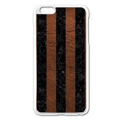 Stripes1 Black Marble & Dull Brown Leather Apple Iphone 6 Plus/6s Plus Enamel White Case by trendistuff