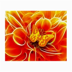 Arrangement Butterfly Aesthetics Orange Background Small Glasses Cloth (2 Side) by Celenk