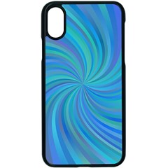 Blue Background Spiral Swirl Apple Iphone X Seamless Case (black) by Celenk