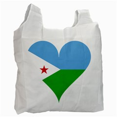 Heart Love Flag Djibouti Star Recycle Bag (two Side)  by Celenk
