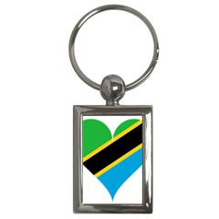 Heart Love Tanzania East Africa Key Chains (rectangle)  by Celenk