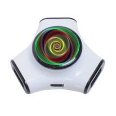 Spiral Vortex Fractal Render Swirl 3 Port Usb Hub