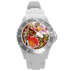 Flower Hostanamone Drawing Plant Round Plastic Sport Watch (l)