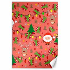 Santa And Rudolph Pattern Canvas 20  X 30   by Valentinaart