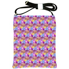Hexagon Cube Bee Cell Pink Pattern Shoulder Sling Bags by Cveti